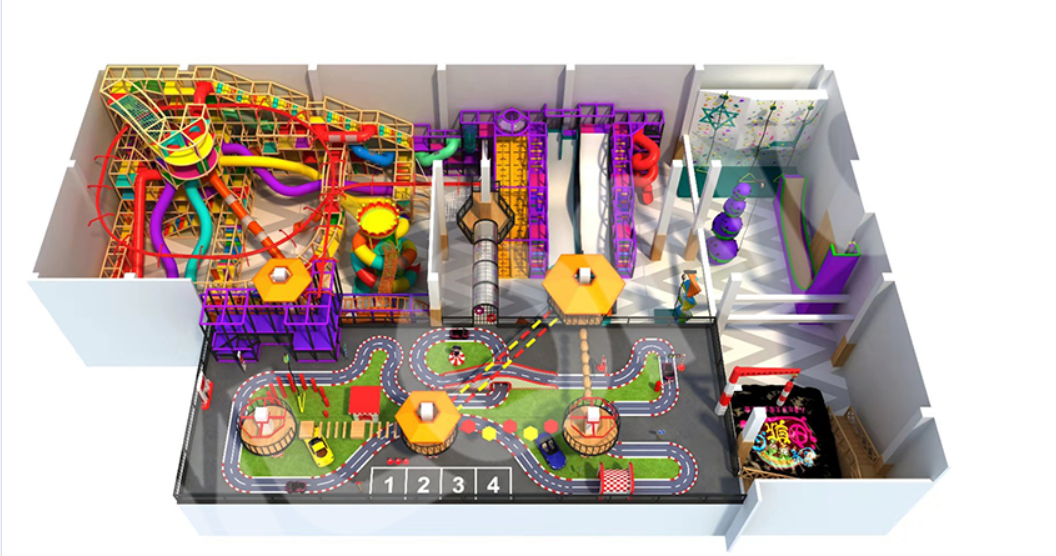indoor playground with new element of play games for kids